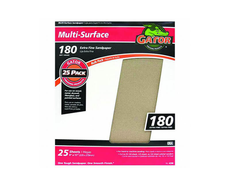 "9""x11"" Extra Fine Sandpaper - 180 Grit"