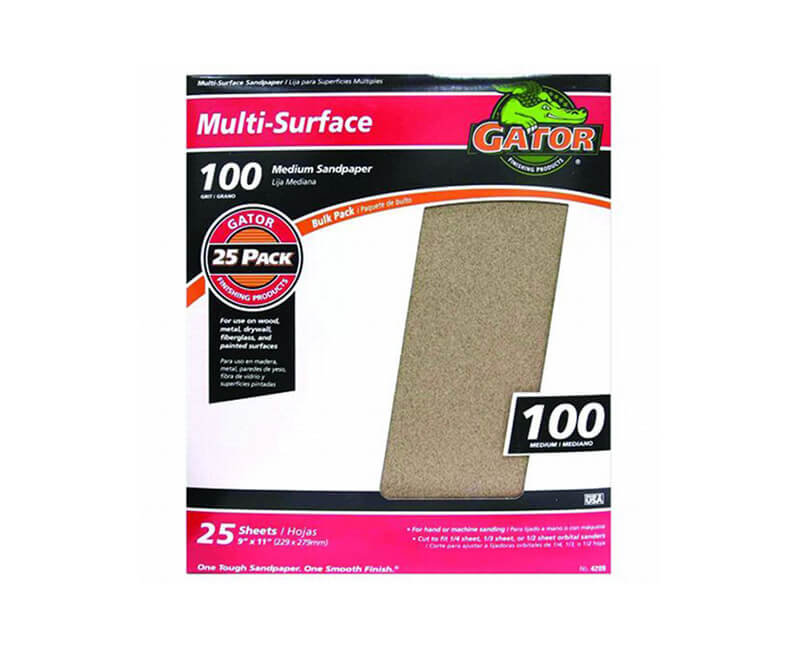 "9""x11"" Medium Sandpaper - 100 Grit"
