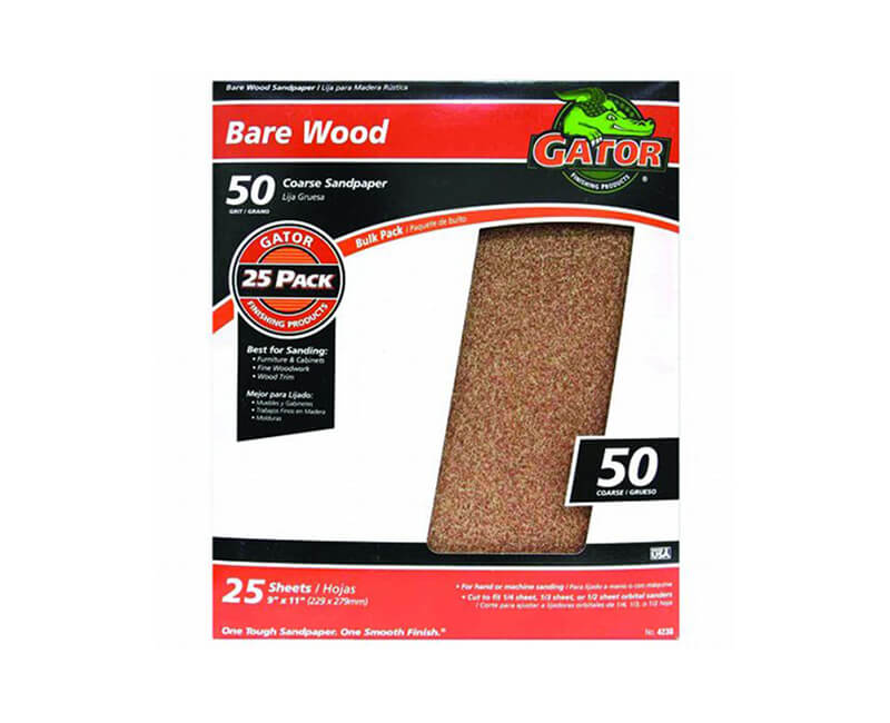 "9""x11"" Coarse Garnet Sandpaper - 50 Grit"