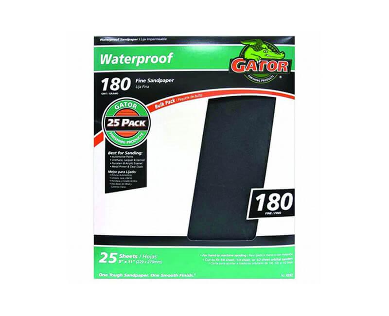 "9""x11"" Extra Fine Waterproof Sandpaper - 180 Grit"