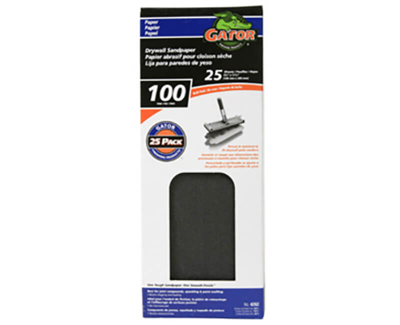 """4 1/4""""x11 1/4"""" Dry Wall Sanding Paper - 100 Grit"""