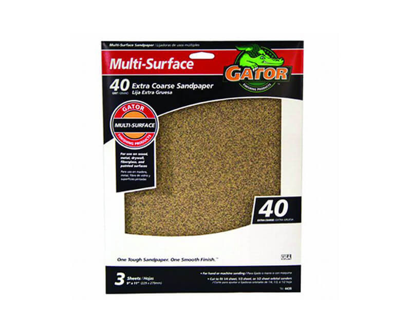 "9""x11"" Extra Coarse Multi-Surface Sandpaper - 40 Grit"
