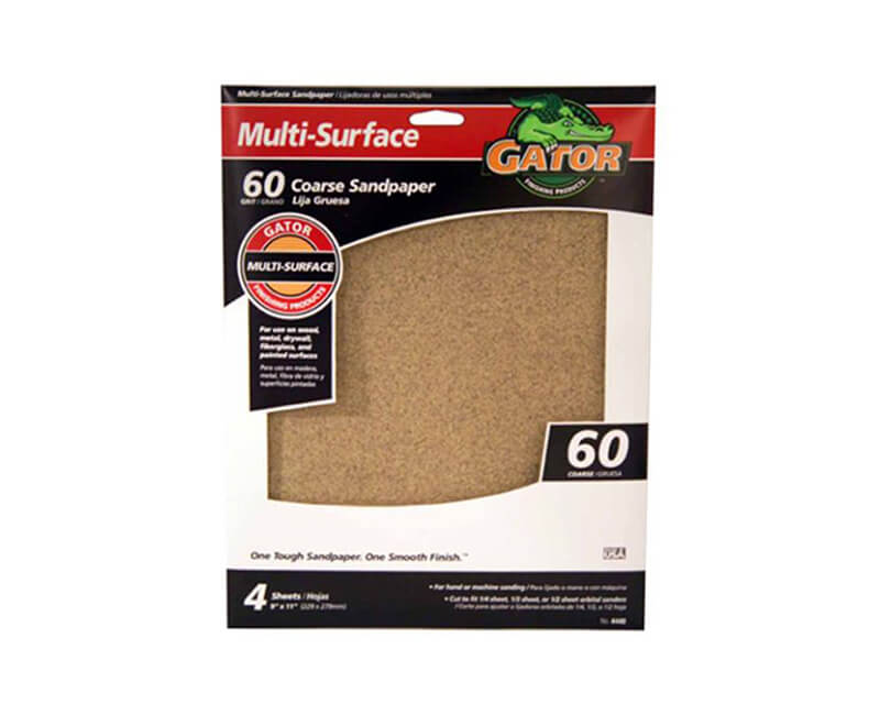 "9""x11"" Coarse Multi-Surface Sandpaper - 60 Grit"