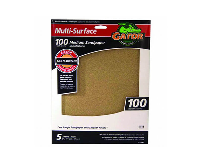 "9""x11"" Medium Multi-Surface Sandpaper - 100 Grit"