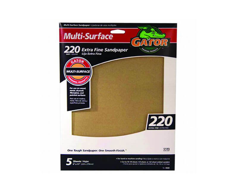 "9""x11"" Extra Multi-Surface Sandpaper - 220 Grit"