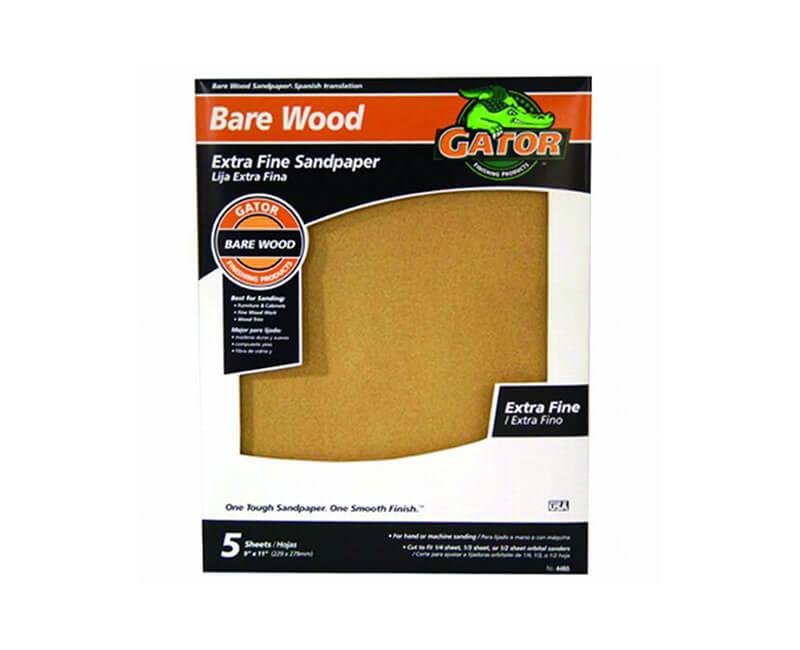 "9""x11"" Extra Fine Garnet Sandpaper - 220 Grit 5 Pack"