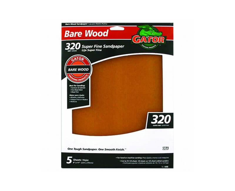 "9""x11"" Super Fine Garnet Sandpaper - 320 Grit 5 Pack"