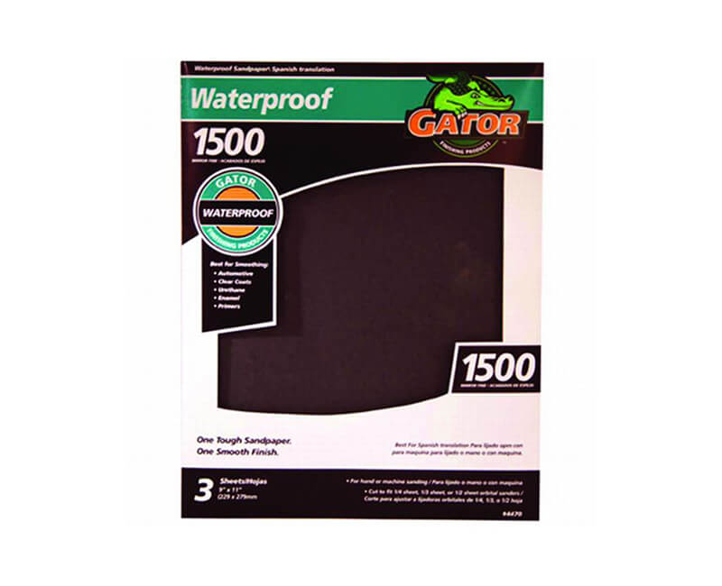 "9""x11"" Mirror Fine Waterproof Sandpaper - 1500 Grit"