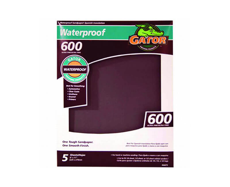 "9""x11"" Ultra Fine Waterproof Sandpaper - 600 Grit 5 Pack"