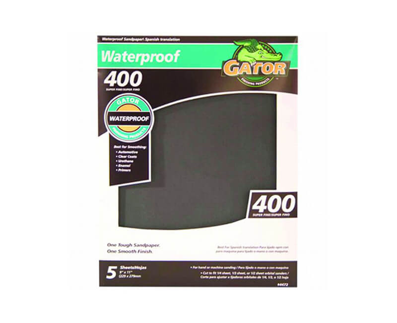 "9""x11"" Super Fine Waterproof Sandpaper - 400 Grit 5 Pack"