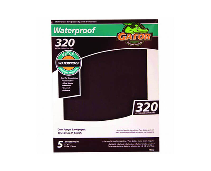 "9""x11"" Very Fine Waterproof Sandpaper - 320 Grit 5 Pack"