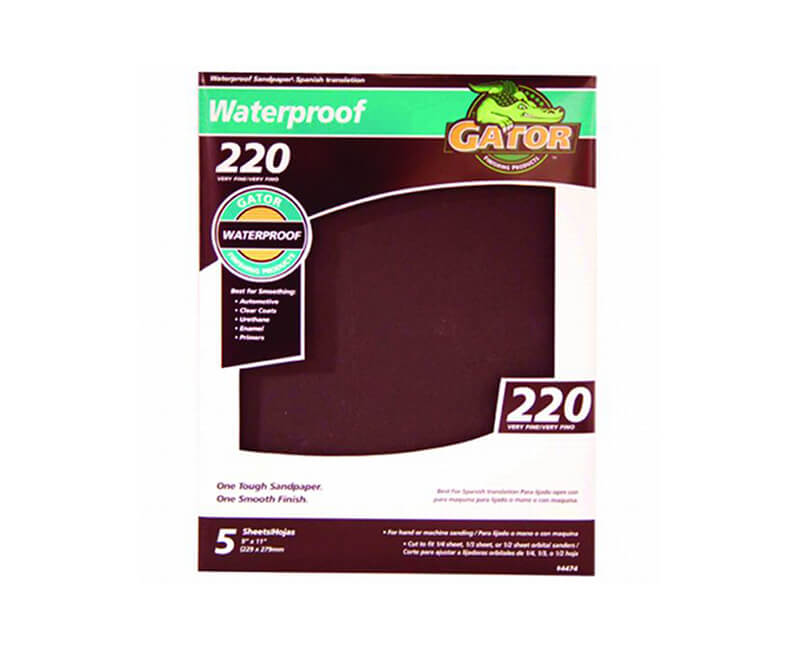 "9""x11"" Extra Fine Waterproof Sandpaper - 220 Grit 5 Pack"