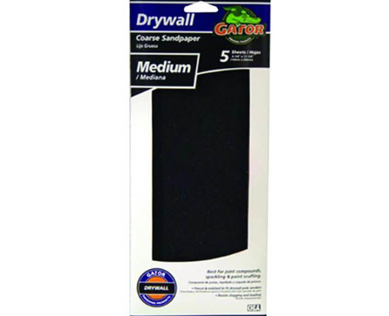 "4 1/4""x11 1/4"" Medium Dry Wall Sanding Paper - 5 Pack"