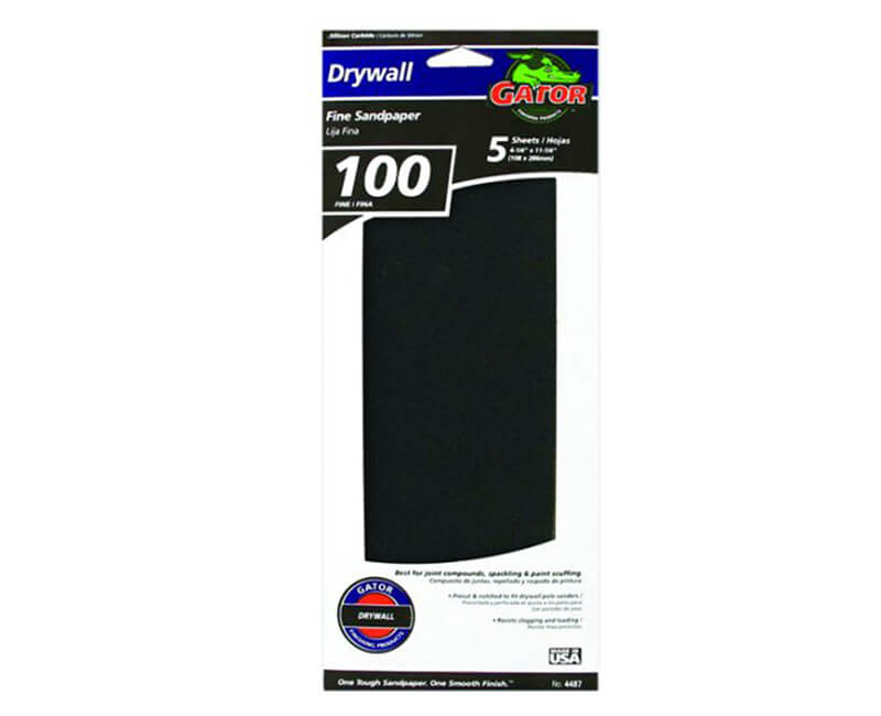 """4 1/4""""x11 1/4"""" Fine Dry Wall Sanding Paper - 5 Pack"""