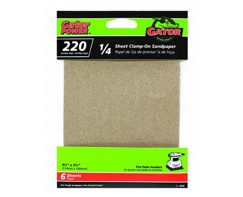 "4 1/2""x5 1/2"" Aluminum Oxide Sandpaper - 220 Grit"