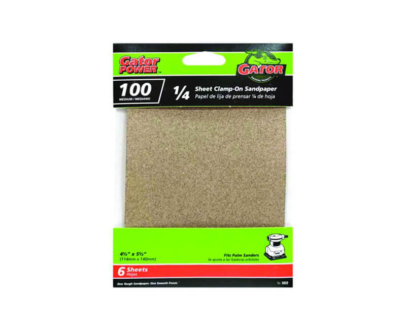 "4 1/2""x5 1/2"" Aluminum Oxide Sandpaper - 100 Grit"