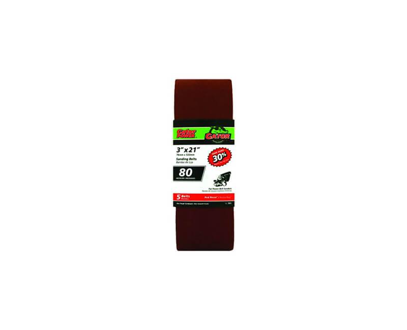 "3""x21"" Bi-Directional Aluminum Oxide Belts - 80 Grit"