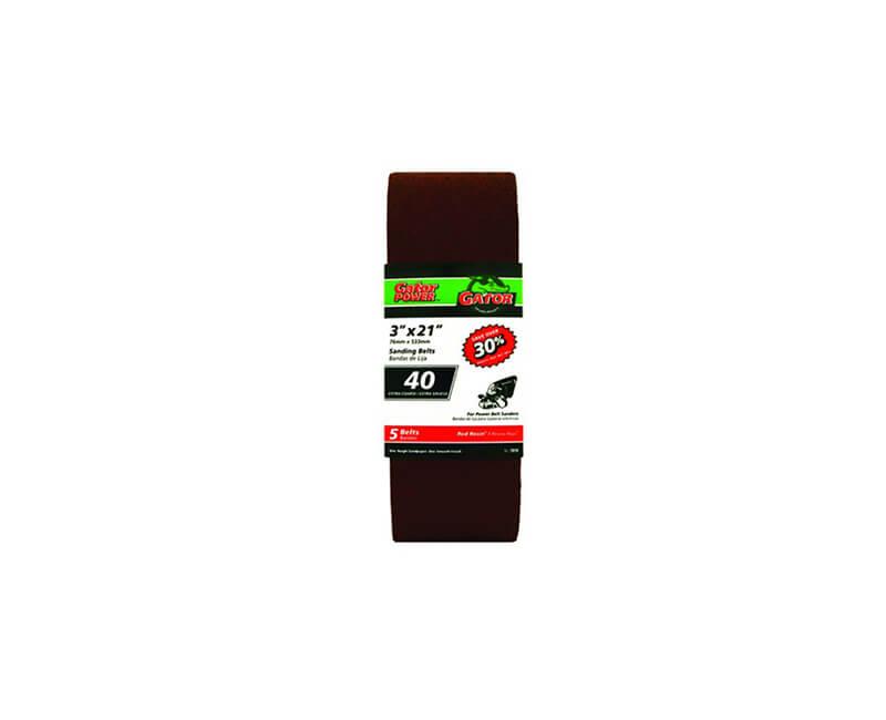 "3""x21"" Bi-Directional Aluminum Oxide Belts - 40 Grit"