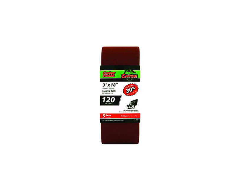 "3""x18"" Bi-Directional Aluminum Oxide Belts - 120 Grit"
