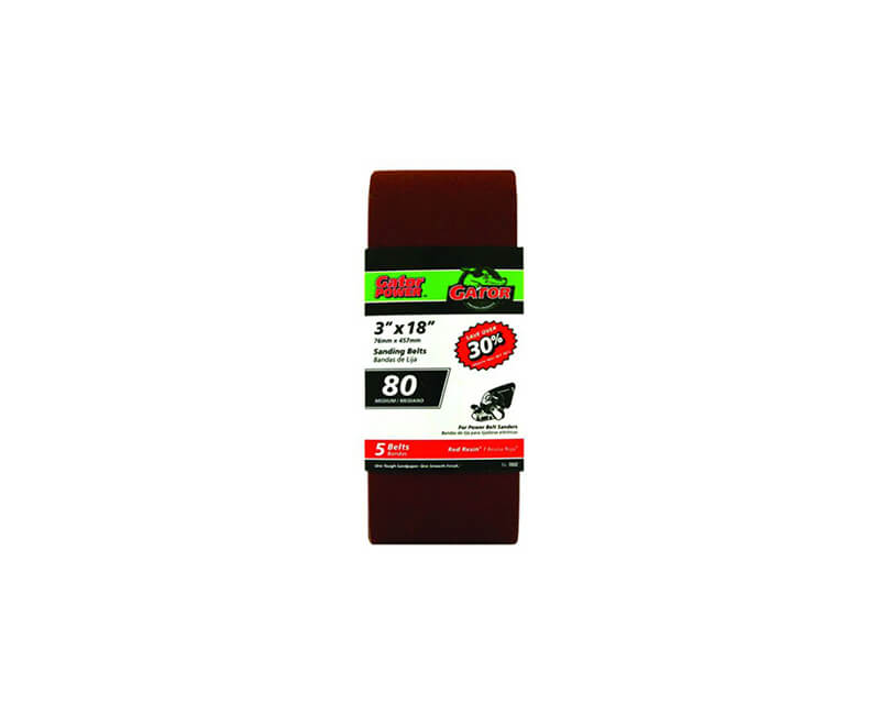 "3""x18"" Bi-Directional Aluminum Oxide Belts - 80 Grit"