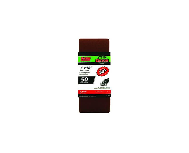 "3""x18"" Bi-Directional Aluminum Oxide Belts - 50 Grit"
