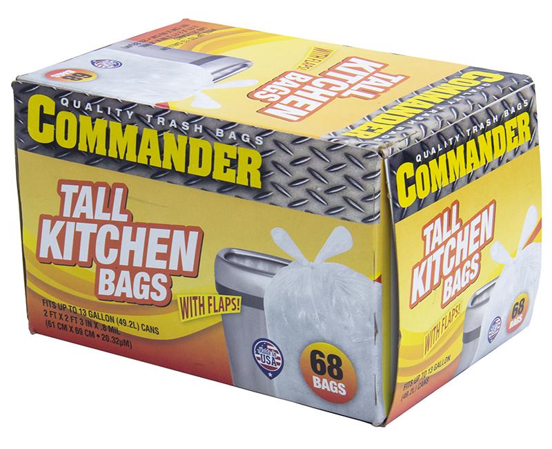 13 GALLON TALL KITCHEN BAG W/ FLAPS 68 CT 0.8 MIL