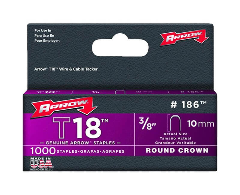 "3/8"" T18 Staples - 5 Packs 1000 Per Pack"