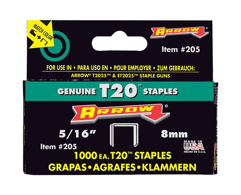 "5/16"" T20 Staples - 5 Packs 1000 Per Pack"