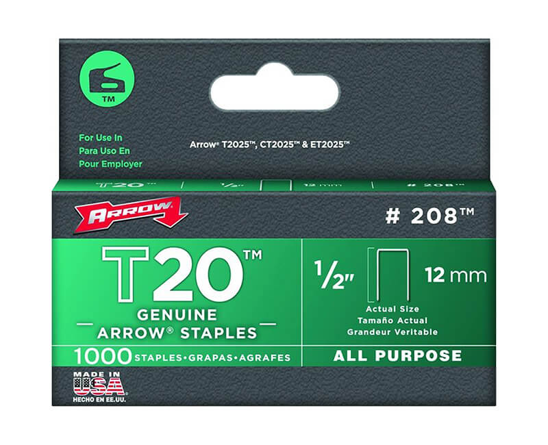 "1/2"" T20 Staples - 5 Packs 1000 Per Pack"