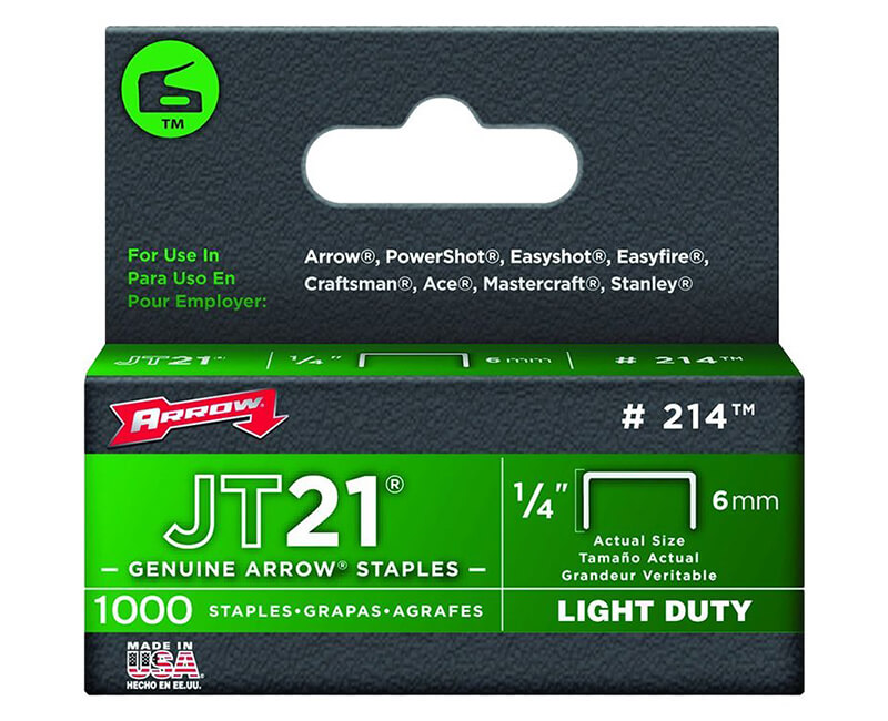 "1/4"" JT21 Staples - 5 Packs 1000 Per Pack"