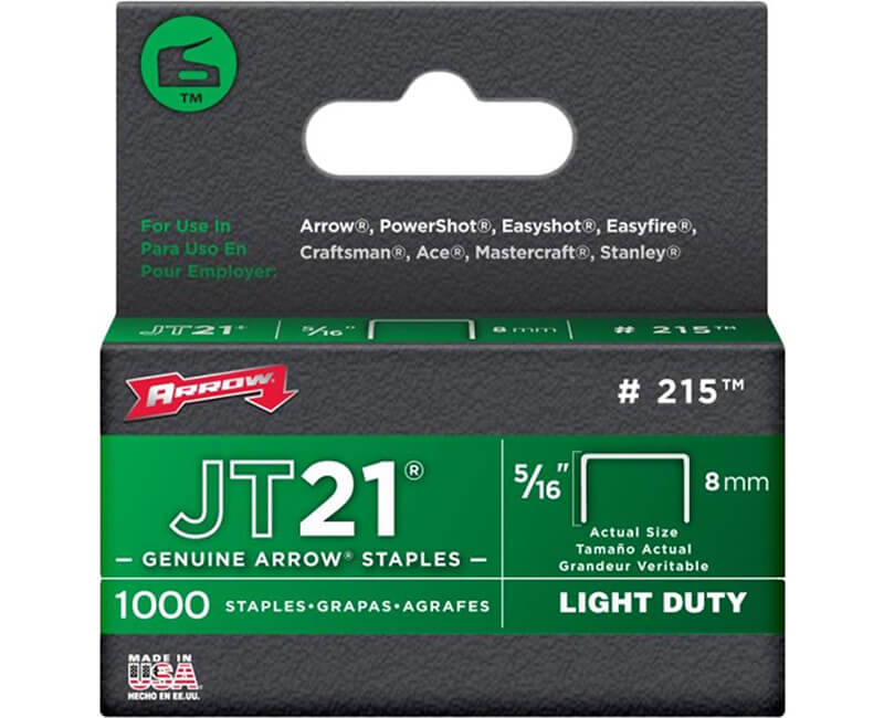 "5/16"" JT21 Staples - 5 Packs 1000 Per Pack"