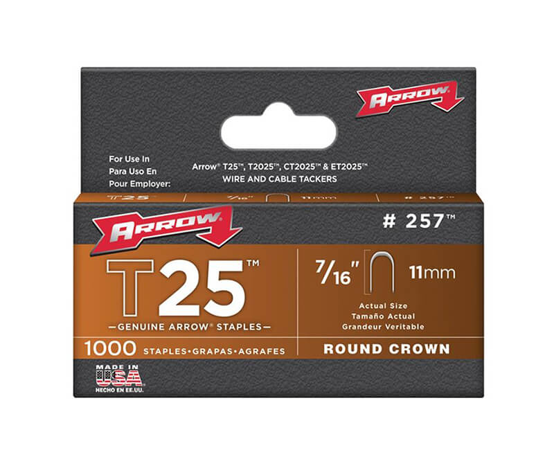 "7/16"" T25 Staples - 5 Packs 1000 Per Pack"