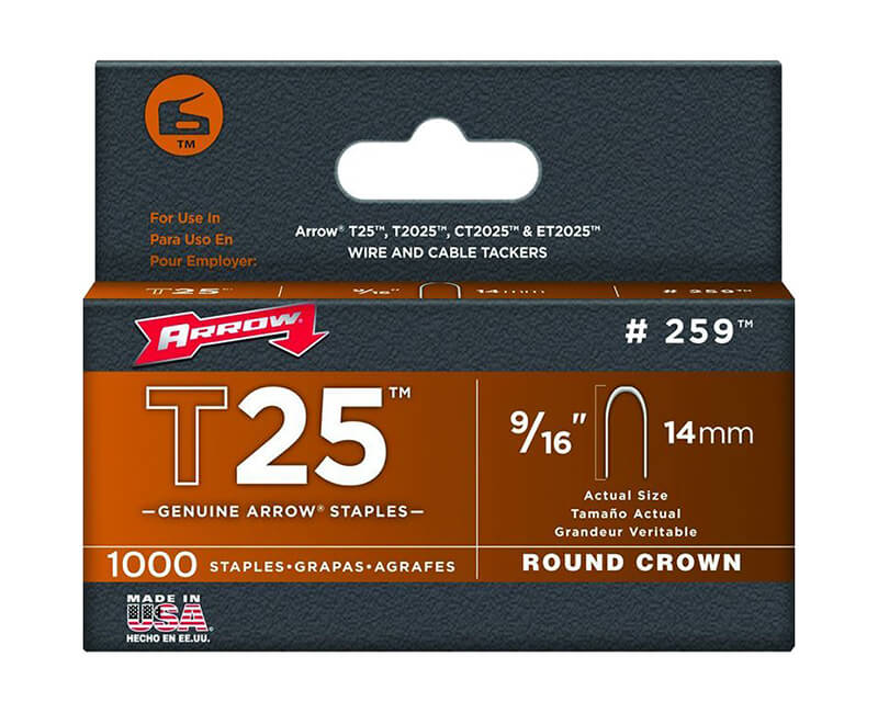 "9/16"" T25 Staples - 5 Packs 1000 Per Pack"