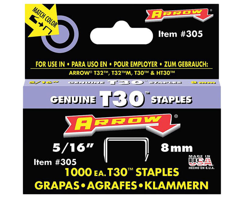 "5/16"" T30 Staples - 5 Packs 1000 Per Pack"