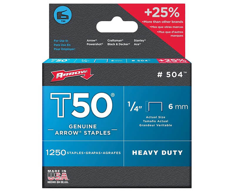 "1/4"" T50 Staples - 4 Packs 1250 Per Pack"