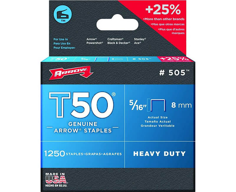 "5/16"" T50 Staples - 4 Packs 1250 Per Pack"
