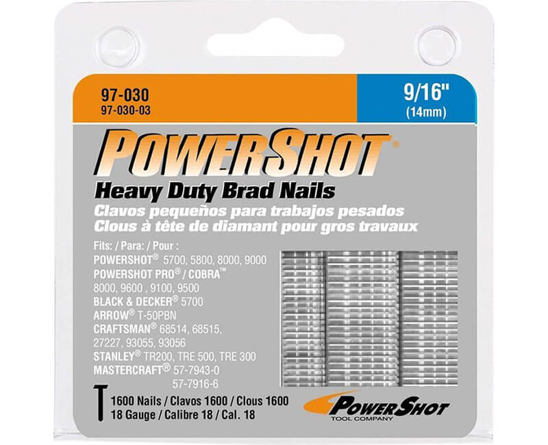 "9/16"" Brad Nails For PowerShot - 600 Pack"