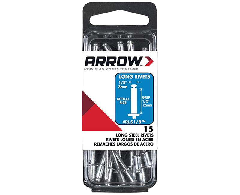 "1/8"" Steel Rivets - 1/2"" Range - 15 PCS."