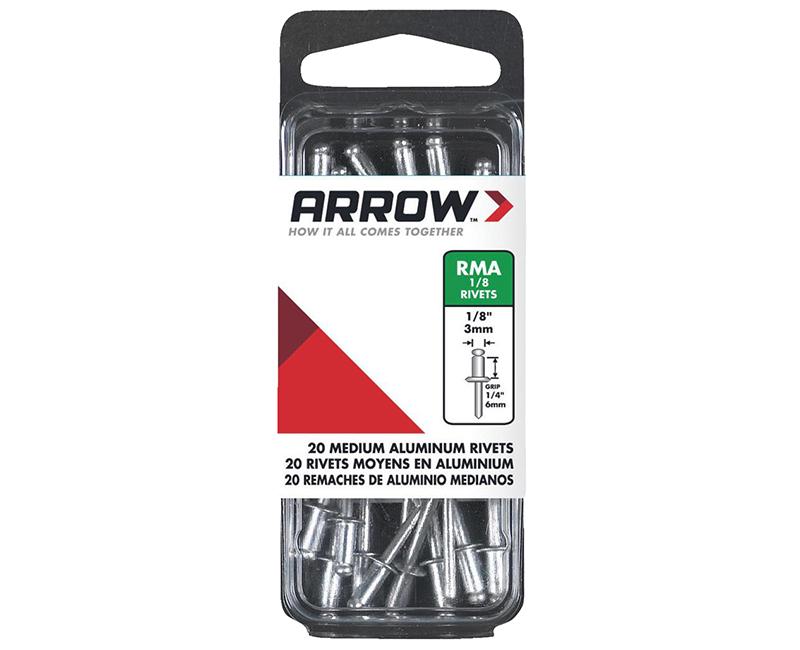 "1/8"" Aluminum Rivets - 1/4"" Range - 20 PCS."