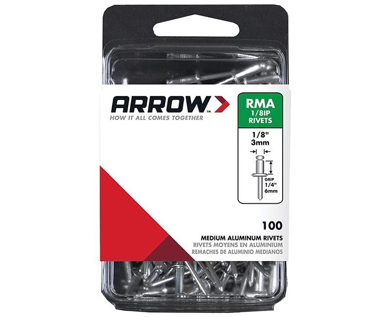 "1/8"" Aluminum Rivets - 1/4"" Range - 100 PCS."