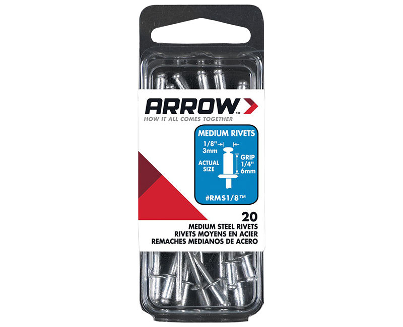 "1/8"" Steel Rivets - 1/4"" Range - 20 PCS."