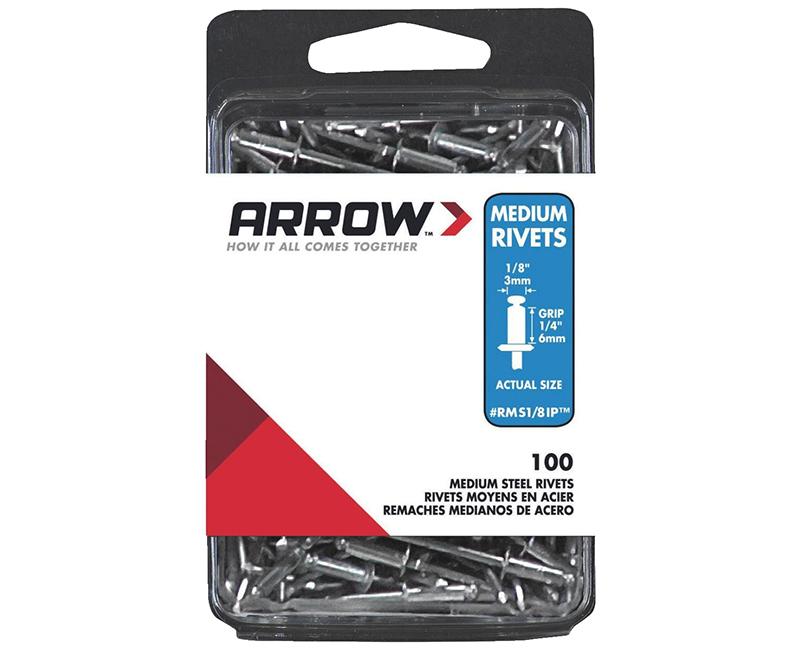 """1/8 Steel Rivets - 1/4"""" Range - 100 PCS."""