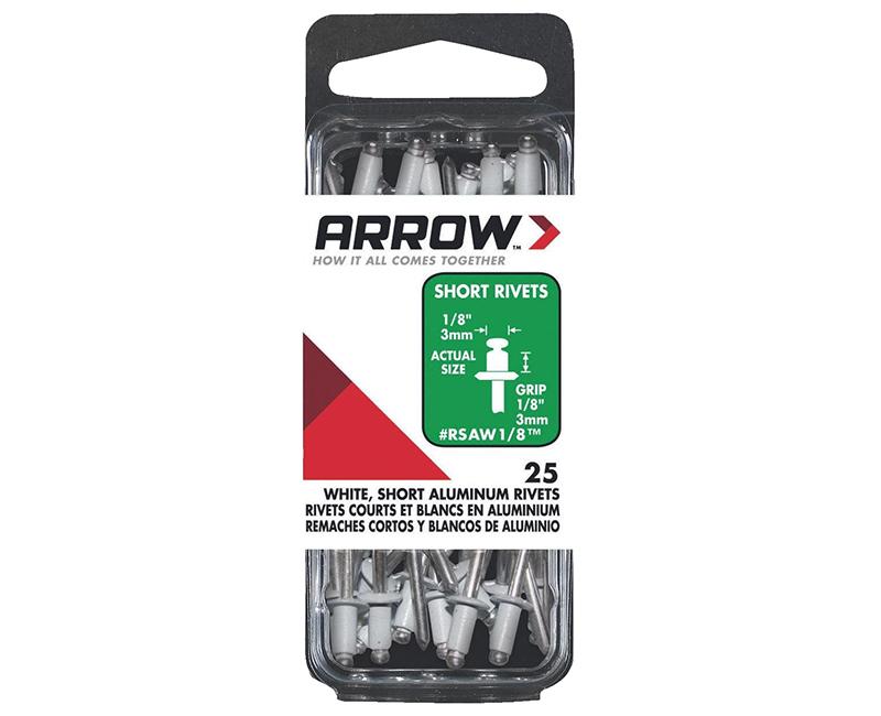 """1/8"""" Aluminum White Rivets - 1/8"""" Range - 25 PCS."""