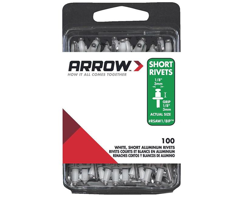 """1/8"""" Aluminum White Rivets - 1/8"""" Range - 100 PCS."""