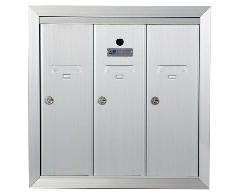 "ANODIZED ALUMINUM, THREE COMPARTMENT, FULLY RECESSED VERTICAL APARTMENT STYLE MAILBOX CUT OUT 17-1/2"" W X 17-3/4"" H X 6-3/4"" D"