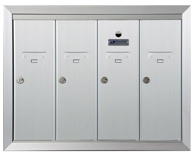 "ANODIZED ALUMINUM, FOUR COMPARTMENT, FULLY RECESSED VERTICAL APARTMENT STYLE MAILBOX CUT OUT 23"" W X 17-3/4"" H X 6-3/4"" D"