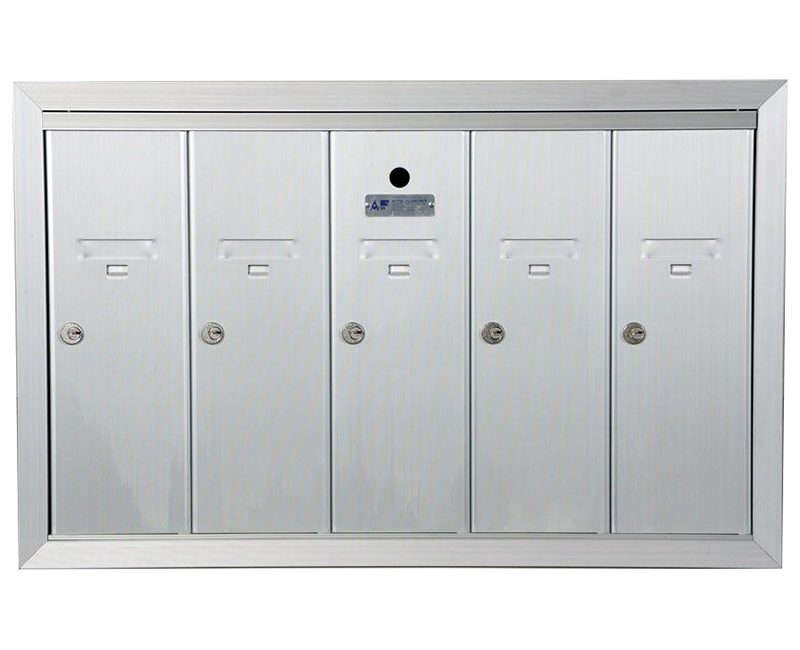 "ANODIZED ALUMINUM, FIVE COMPARTMENT, FULLY RECESSED VERTICAL APARTMENT STYLE MAILBOX CUT OUT 28-5/8"" W X 17-3/4"" H X 6-3/4"" D"