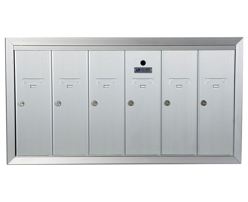 "ANODIZED ALUMINUM, SIX COMPARTMENT, FULLY RECESSED VERTICAL APARTMENT STYLE MAILBOX CUT OUT 34-1/8"" W X 17-3/4"" H X 6-3/4"" D"