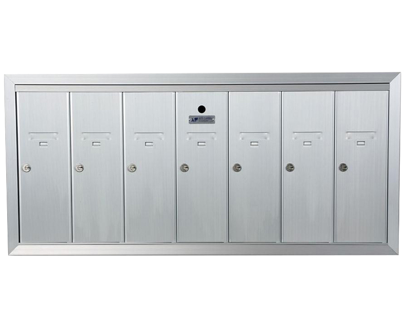 "ANODIZED ALUMINUM, SEVEN COMPARTMENT, FULLY RECESSED VERTICAL APARTMENT STYLE MAILBOX CUT OUT 39-5/8"" X 17-3/4"" H X 6-3/4"" D"