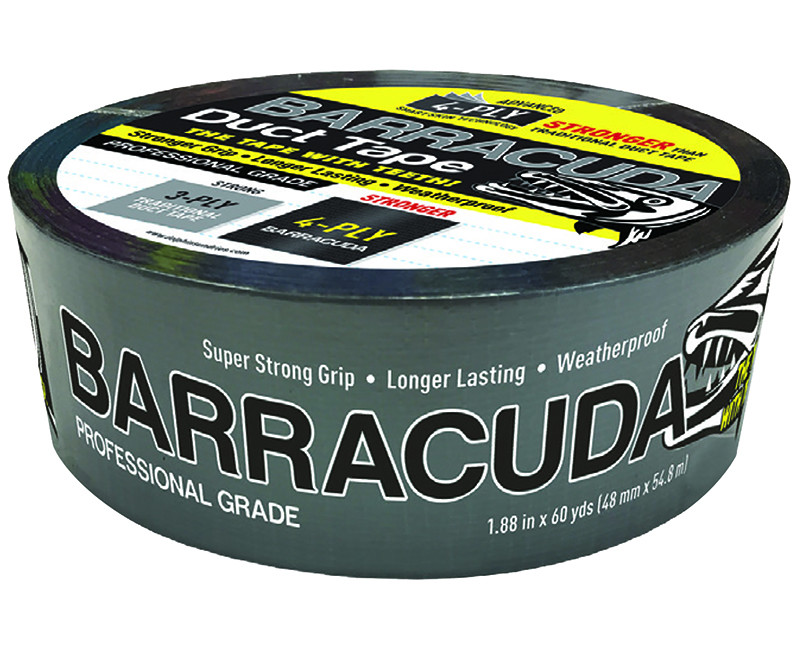 "SILVER W/BLACK BACKING PROFESSIONAL BARRACUDA DUCT TAPE 1.88"" X 60YDS"